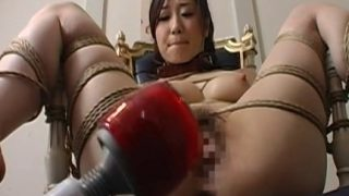 Extreme bondage and dildo fuck for an Asian