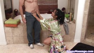Cock craving Asian sucks on the job